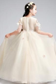 Vestido niña ceremonia Falta Mangas Illusion Capa de tul Invierno Cremallera
