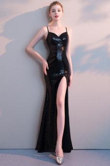 Vestido de fiesta sexy Frontal Dividida Escote de Tirantes Espaguetis