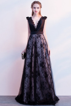 Vestido de fiesta Elegante Escote en V Sin mangas Capa de encaje Corte-A