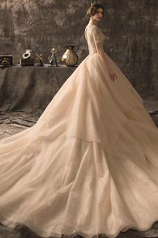Vestido de novia Abalorio Natural Playa Manga corta Corte-A Estrellado