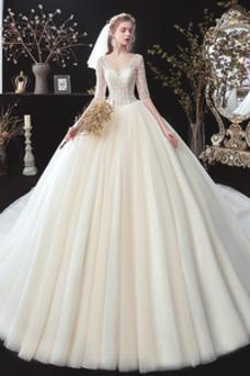 Vestido de novia Elegante Capa Multi Corpiño Acentuado con Perla Escote en V