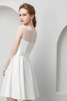 Vestido de noche Satén Elástico Corto primavera Corte-A Oscilación Natural