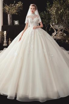 Vestido de novia Escote con cuello Alto Corpiño Acentuado con Perla