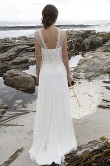 Vestido de novia Escote en V Playa Apliques Corte-A Natural Cola Barriba