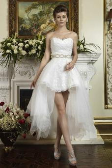 Vestido de novia Escote Corazón Espalda Descubierta Cristal Asimétrico Dobladillo
