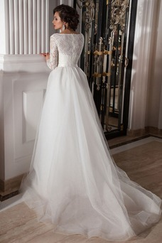 Vestido de novia Playa Manga larga Cremallera Corte Recto Cristal Natural
