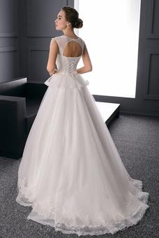 Vestido de novia Espalda con ojo de cerradura Natural tul Joya primavera