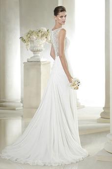 Vestido de novia Sencillo Gasa Apertura Frontal Verano Natural Cremallera