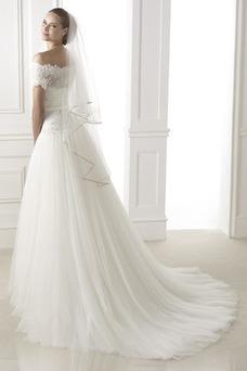 Vestido de novia Escote con Hombros caídos Manga corta Fajas Con velo