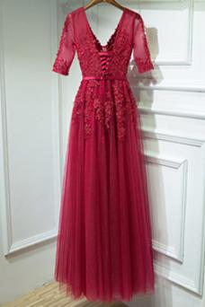 Vestido de dama de honor Verano Elegante Capa de encaje Mangas Illusion Escote en V