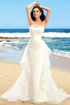 Vestido de novia Romántico Sin tirantes Verano Volante Satén Espalda Descubierta
