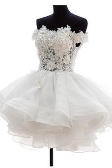 Vestido de novia Corto Fuera de casa Escote con Hombros caídos Pura espalda