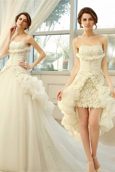 Vestido de novia Sin tirantes Sin mangas Asimètrico Apertura Frontal