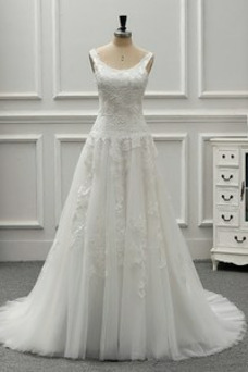 Vestido de novia vendimia Drapeado Corte-A Sin mangas Cola Catedral