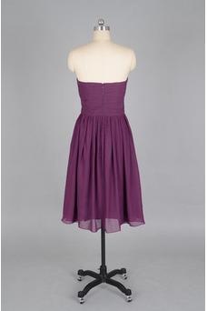 Vestido de dama de honor Verano Sin mangas Gasa Pera Sencillo ciruela persa