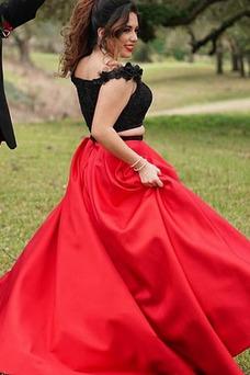 Vestido de fiesta vendimia primavera Corte-A Natural Escote con Hombros caídos