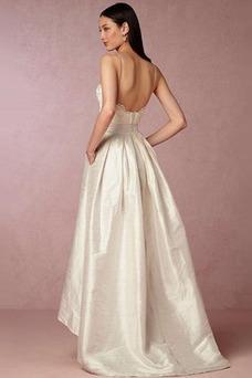Vestido de novia Asimétrico Dobladillo Sin mangas Escote en V Asimètrico