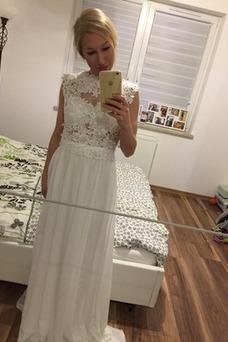 Vestido de novia Encaje Hasta el suelo Joya Fuera de casa Verano Natural