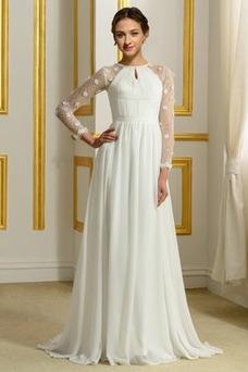 Vestido de novia Elegante Corte-A Natural largo Otoño Corpiño Acentuado con Perla