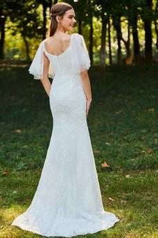 Vestido de novia Playa Corte Sirena Cola Barriba Cremallera tul Queen Anne