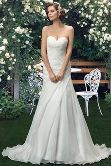 Vestido de novia Romántico Falta Natural Organza Fuera de casa Verano