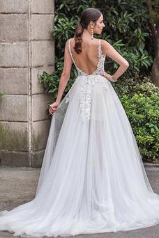 Vestido de novia Escote en V Apliques Moderno Frontal Dividida Espalda Descubierta