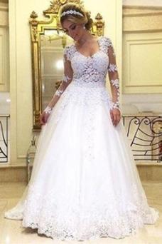 Vestido de novia Corte-A Mangas Illusion Pura espalda Iglesia primavera
