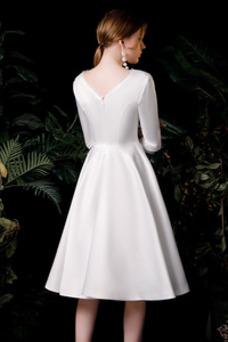Vestido de novia Manga de longitud 3/4 Corte-A Hasta la Rodilla Botón
