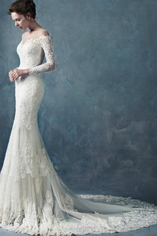 Vestido de novia Manga larga Cremallera Sin cintura Encaje Corte Sirena