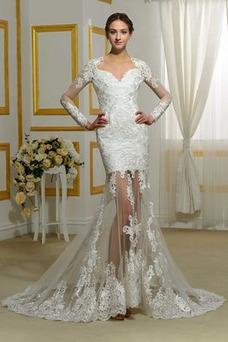 Vestido de novia Elegante Dobladillos Mangas Illusion Espalda Descubierta