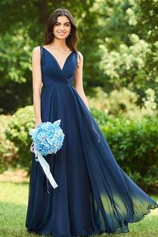Vestido de dama de honor largo Invierno Sencillo Gasa Drapeado Blusa plisada