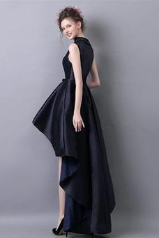 Vestido de cóctel Invierno Dobladillos Natural Satén Sin mangas Asimétrico Dobladillo