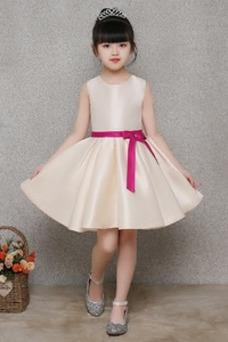 Vestido niña ceremonia Fajas Natural Espalda con ojo de cerradura Hasta la Rodilla