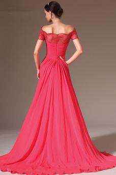 Vestido de noche Corte-A Blusa plisada Natural Bordado Capa de encaje