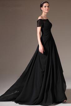 Vestido de noche largo Escote con Hombros caídos Blusa plisada Natural
