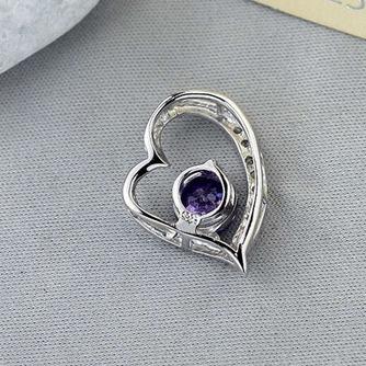 púrpura en forma de corazón de plata con incrustaciones diamantes joyas de las mujeres collar y colgante - Página 2