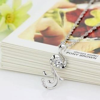 Con incrustaciones de diamante mujer moda Peacock collar y colgante de plata - Página 2
