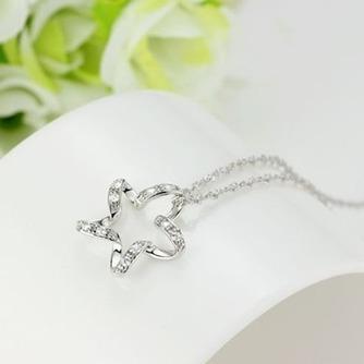 Clavícula mujeres plata cinco puntas estrella con incrustaciones diamante collar y colgante - Página 2