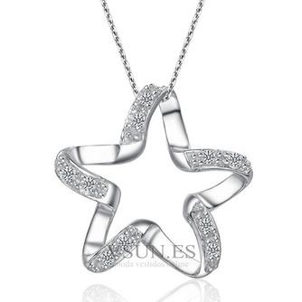Clavícula mujeres plata cinco puntas estrella con incrustaciones diamante collar y colgante - Página 1