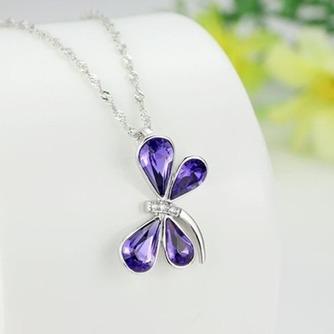 Libélula mujeres Cristal púrpura suministro por mayor collar y colgante de plata - Página 3