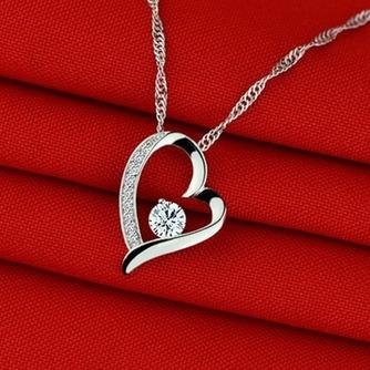 púrpura en forma de corazón de plata con incrustaciones diamantes joyas de las mujeres collar y colgante - Página 3