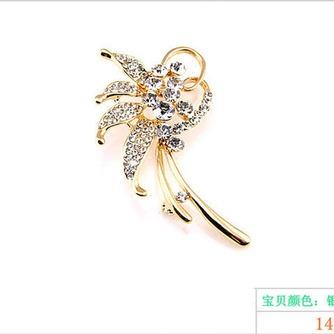Con incrustaciones de diamante hoja Top grade broche de flores de cristal de las mujeres - Página 6