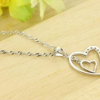 En forma de corazón las mujeres corto con incrustaciones de diamante collar y colgante de plata - Página 5
