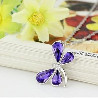 Libélula mujeres Cristal púrpura suministro por mayor collar y colgante de plata - Página 2