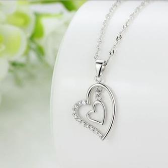 En forma de corazón las mujeres corto con incrustaciones de diamante collar y colgante de plata - Página 2