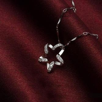 Clavícula mujeres plata cinco puntas estrella con incrustaciones diamante collar y colgante - Página 4