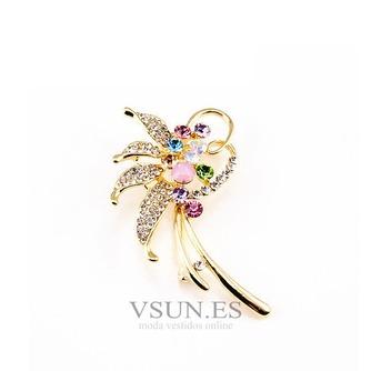 Con incrustaciones de diamante hoja Top grade broche de flores de cristal de las mujeres - Página 1