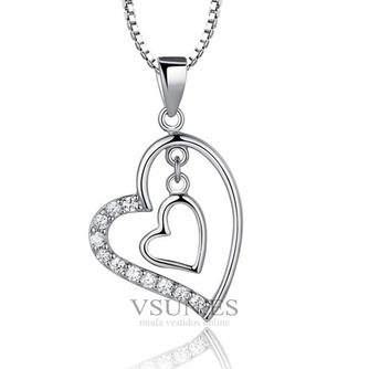 En forma de corazón las mujeres corto con incrustaciones de diamante collar y colgante de plata - Página 1