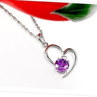 Mujeres púrpura en forma de corazón de cristal collar y colgante de plata - Página 3