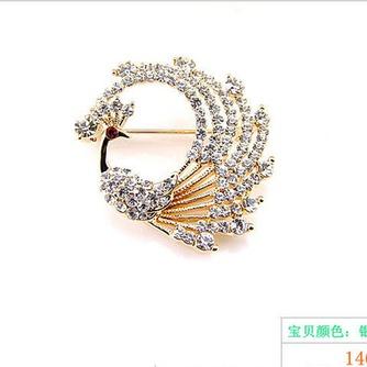 Con incrustaciones de diamante colorido broche pavo real de aleación - Página 2